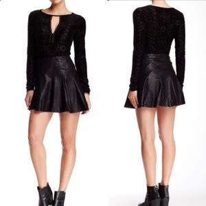 Free People About A Girl Vegan Leather Mini Skirt